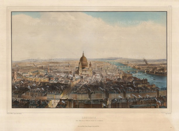 """Allom:Bird's-eye View from St. Bride's Steeple. 1846. A hand-coloured original antique lithograph. 18"""" x 24"""". [LDNp10308]"""