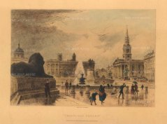 "Cassell & Co: Trafalgar Square. 1888. A hand coloured original steel engraving. 10"" x 6"". [LDNp10321]"