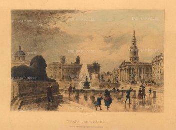 "Cassell & Co: Trafalgar Square. 1888. A hand coloured original steel engraving. 10"" x 6"". [LDNp10321]"