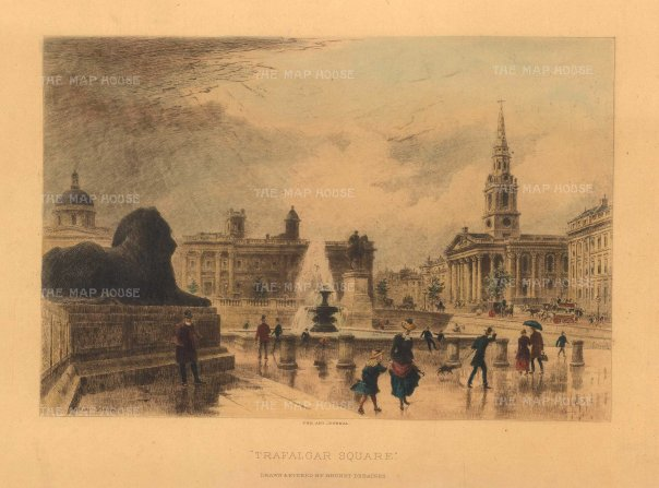 "Cassell & Co: Trafalgar Square. 1888. A hand coloured original antique steel engraving. 10"" x 6"". [LDNp10321]"