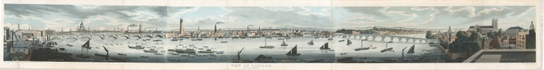 RARE view of London from the Adelphi: Showing St.Paul's, College Wharf Saw Mills and the City. Cataloguing the relatively undeveloped Thames, this panorama was issued with another of some 60ft.