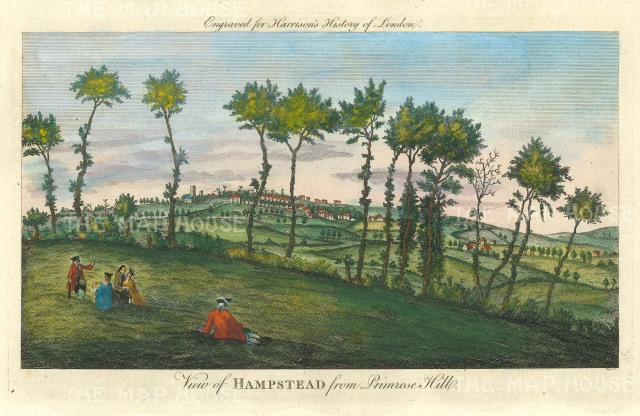 Harrison: Hampstead. 1775. A hand-coloured original antique copper engraving. 14 x 7 inches. [LDNp10362]