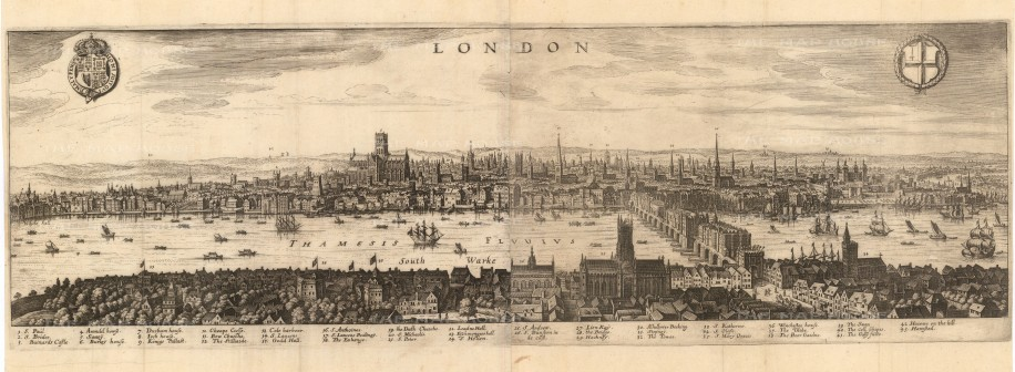 Panorama from Southwark: Based on views by Nicholas Visscher (1616) and John Norden (1600), much of the detail pertains to London at the turn of the century, prior to the Great Fire of 1666.
