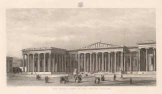 "Adlard: British Museum: Elevation of the South Front. c1852. An original antique steel engraving. 18"" x 11"". [LDNp10376]"