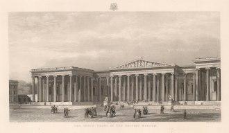 "Adlard: British Museum: Elevation of the South Front. c1852. An original antique steel engraving. 18"" x 11"". [LDNp10376]"