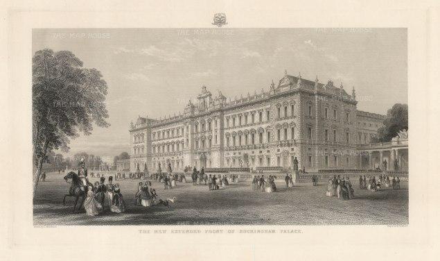 "Adlard: Buckingham Palace. c1852. An original antique steel engraving. 18"" x 11"". [LDNp10391]"