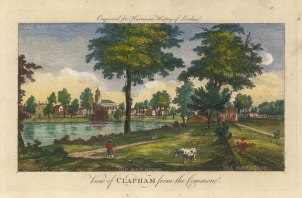 "Harrison: Clapham. 1775. A hand coloured original copper engraving. 14"" x 7"". [LDNp10392]"