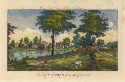 "Harrison: Clapham. 1775. A hand coloured original antique copper engraving. 14"" x 7"". [LDNp10392]"