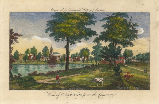 "Harrison: Clapham. 1775. A hand coloured original antique copper engraving. 14"" x 7"". [LDNp10392]"