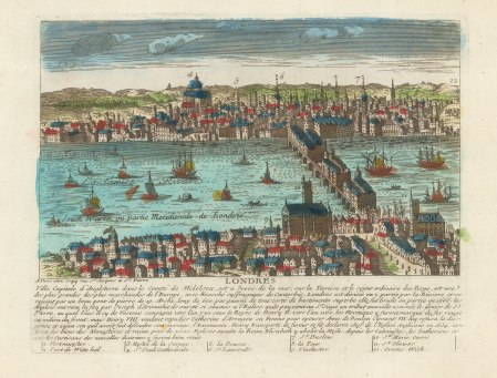 View from Southwark of London from Whitehall to Greenwich. With brief history and key in French.