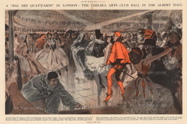 Chelsea Arts Club Bal des Quat'z'Arts at the Royal Albert Hall. By the Australian WWI artist Fred Leist.