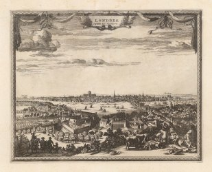 London before the Great Fire: View from Southwark overlooking Lambeth Palace and old London Bridge with old St.Paul's in the distance.