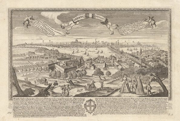 Pre-fire view of London overlooking the Globe and Southwark. Key in the banners with description in German and Latin and the coat of arms of London.