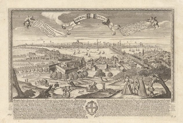 Pre-fire view of London overlooking the Globe and Southwark. Key in the banners and description below in German and Latin with the coat of arms of London.