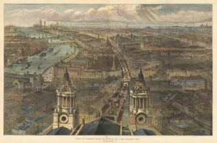 """Illustrated London News: London from St. Paul's, looking Westwards. 1889. A hand coloured original antique wood engraving. 20"""" x 14"""". [LDNp10419]"""