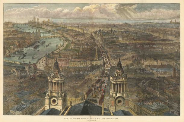 "Illustrated London News: London from St. Paul's, looking Westwards. 1889. A hand coloured original antique wood engraving. 20"" x 14"". [LDNp10419]"