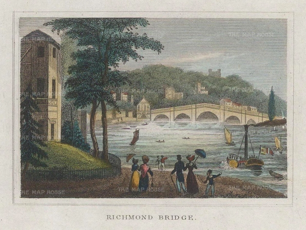 "Dugdale: Richmond. 1829. A hand coloured original antique steel engraving. 4"" x 3"". [LDNp10429]"