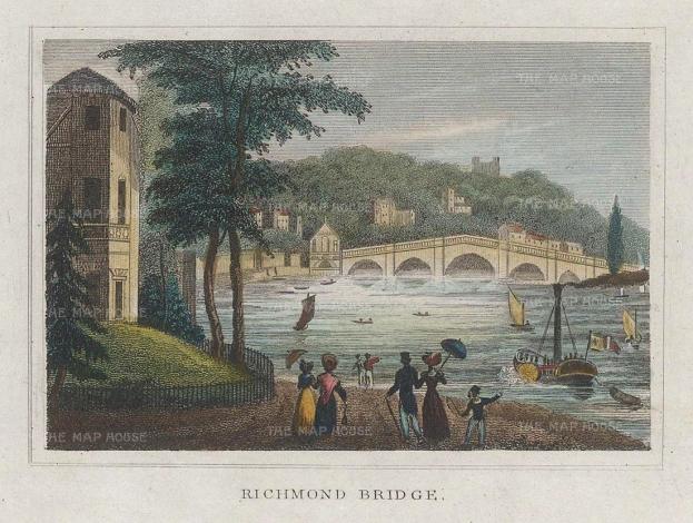 "Dugdale: Richmond. 1829. A hand coloured original antique steel engraving. 4"" x 3"". [LDNp10429]"