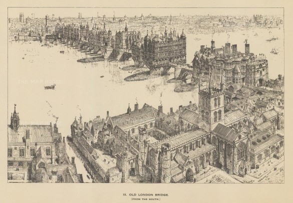 "The Builder: London Bridge. 1921. An original antique wood engrving. 10"" x 7"". [LDNp10440]"