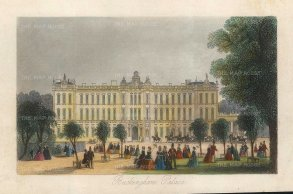 "Tallis: Buckingham Palace. 1851. A hand coloured original antique steel engraving. 6"" x 4"". [LDNp10458]"