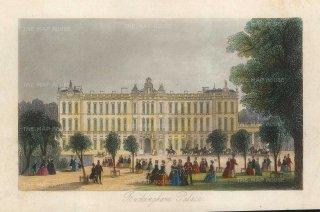 "Tallis: Buckingham Palace. 1851. A hand coloured original antique steel engraving. 6"" x 4"". [LDNp10458]"