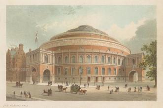 """Nelson: Royal Abert Hall. 1890. An original antique chromolithograph. 5"""" x 4"""". [LDNp10464]"""