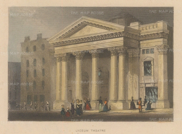 "Tallis: Lyceum Theatre. 1851. A hand coloured original antique steel engraving. 4"" x 3"". [LDNp10465]"