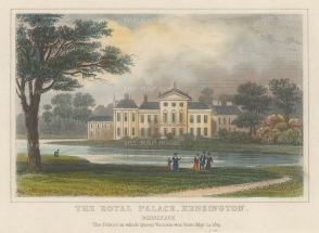 "Dugdale: Kensington Palace. 1829. A hand coloured original antique steel engraving. 4"" x 32. [LDNp10466]"
