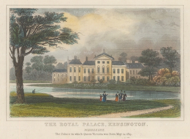 "Dugdale: Kensington Palace. 1829. A hand coloured original antique steel engraving. 4"" x 32. [LDNp10466]"