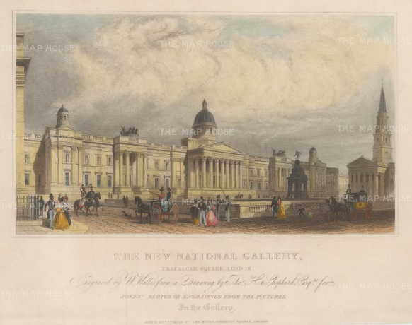 "Shepherd: National Gallery. 1824. A hand coloured original antique steel engraving. 8"" x 6"". [LDNp10467]"