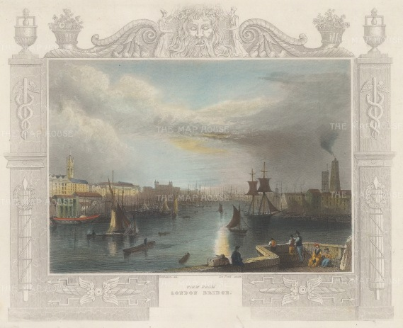 "Tombleson: View form London Bridge. 1845. A hand coloured original antique steel engraving. 9"" x 7"". [LDNp10471]"
