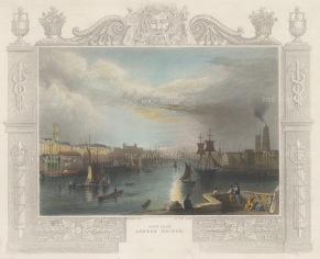 "Tombleson: London Bridge. 1845. A hand coloured original antique steel engraving. 9"" x 7"". [LDNp10471]"