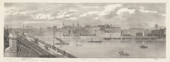 Southwark Bridge: View on the Thames from Mansion House to St Michael Cornhill. Illustration by Thomas Mann Baynes for Lt. Trench's proposed changes to the Embankment, eventually executed in 1864.