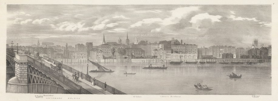 "Trench: 1825. Thames from Southwark Bridge to St Michael's Cornhill. An original antique lithograph. 23"" x9"". [LDNp10477]"