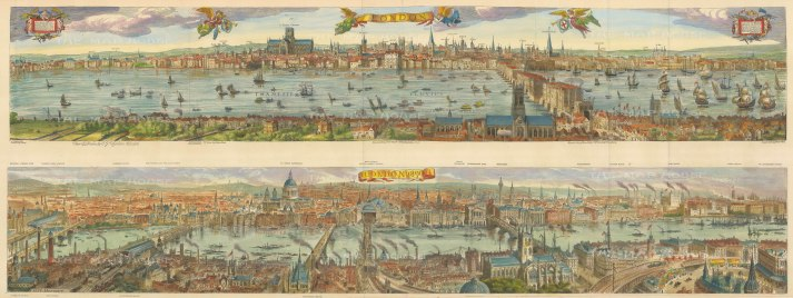 Double Panorama looking North: Nicholas Visscher's seminal panorama from 1616 is represented above with an updated view in 1890 below. With key.