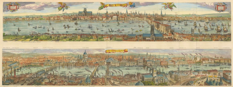 """The Graphic Magazine: London after Visscher 1616 and in 1890. Double Panorama. 1890. A hand-coloured original antique wood engraving. 43"""" x 17"""" [LDNp10483]"""