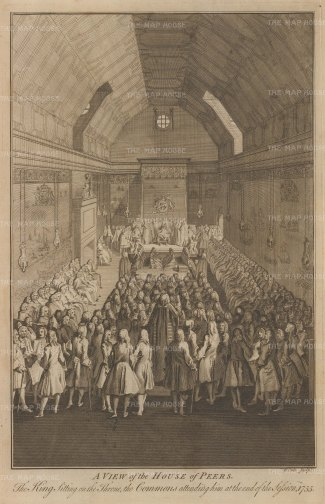 View of the interior of the Lords with the Commons and King George II in attendance.
