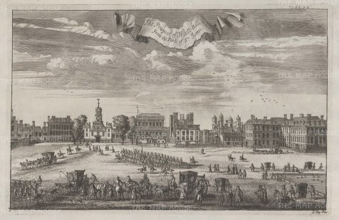 "Stow: Whitehall. 1755. An original antique copper engraving. 14"" x 9"". [LDNp10486]"