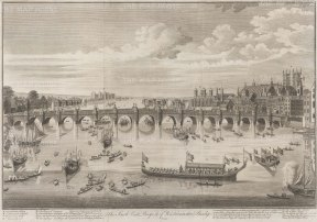 Westminster Bridge:South East Prospect from Westminster Abbey to Lambeth with the Lord Mayor and City Livery barges on the Thames.