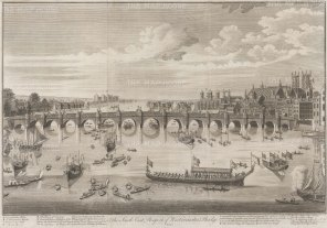 Westminster Bridge: South East Prospect from Westminster Abbey to Lambeth with the Lord Mayor and City Livery barges on the Thames.