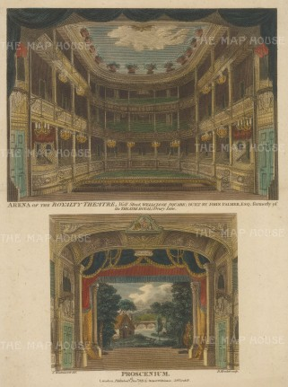 SOLD Royalty Theatre, Well Street: Double view of the boxes and stall and the centre stage with precenium (rustic backdrop).