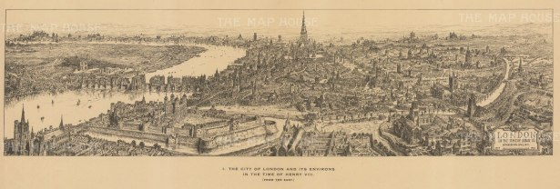 London in the time of Henry VIII. After the Architectural artist Henry William Brewer.