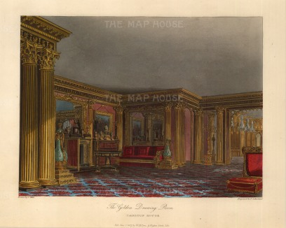 "Pyne: Carlton House, Golden Drawing Room. 1817. An original colour antique aquatint. 9"" x 12"". [LDNp6607]"