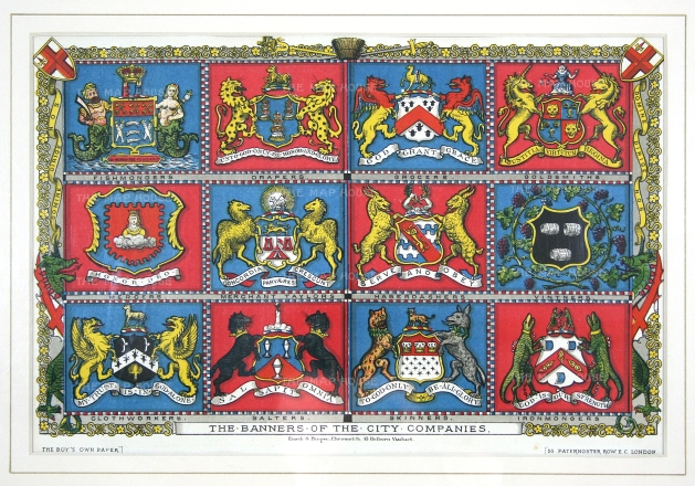 Banners of the 'Great Twelve' City Livery Companies in order of precedence as established by the Lord Mayor in 1515.