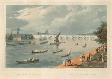 "Havell: Waterloo Bridge. 1820. An original colour antique aquatint. 14"" x 10"" [LDNp8458]"