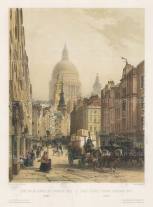 "Lemercier: Fleet Street from Ludgate Hill. c1850. An original hand coloured antique lithograph. 12"" x 18"". [LDNp8908]"
