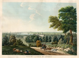 Prospect from Observatory Hill in Greenwich Park: Rural scene with Greenwich Hospital, an undeveloped Isle of Dogs and St Paul's in the distance.