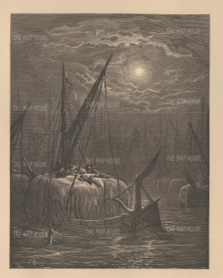 "Dore: Hay boats on the Thames. 1874. An original antique wood engraving. 11"" x 9"". [LDNp9120]"