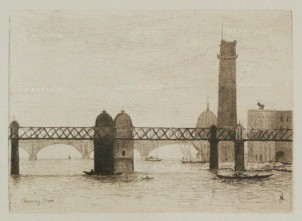 Herring: Charing Cross Bridge. 1884. An original etching. [LDNp9218]