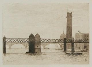 Herring: Charing Cross Bridge. 1884. An original antique etching. [LDNp9218]